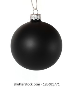 Black christmas ball isolated on white