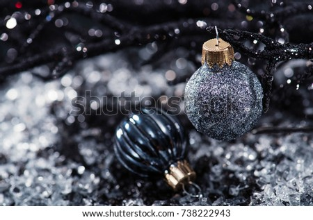 Black Christmas Decorations On Black White Stockfoto Jetzt