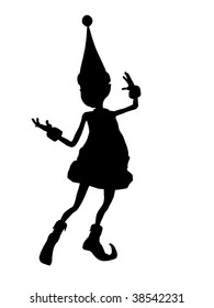 A  black christmas elf illustration silhouette on a white background