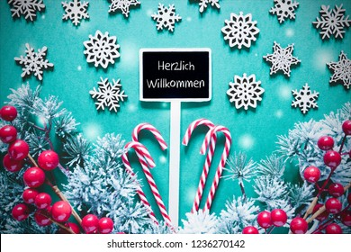 Black Christmas Sign, Lights, Willkommen Means Welcome