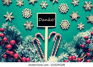 Black Christmas Sign,Lights, Danke Means Thank You, Retro Look