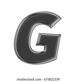 Black chrome metallic uppercase or capital letter G in a 3D illustration with a glossy or shiny silver metal edge and basic bold text font style isolated on a white background