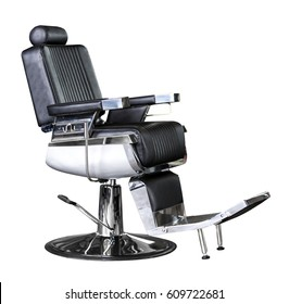 Black Chromed chair with barber leather seat isolated