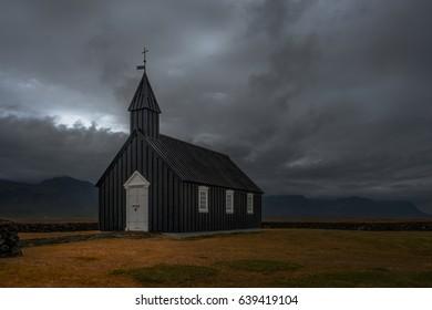 The black church of Budir, Iceland
