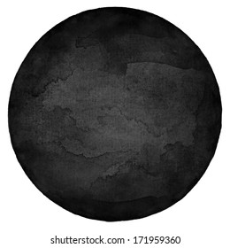 Black circle blank watercolor on white background. Image round shape form isolated of square format. Colored aquarelle template  backdrop created in handmade technique.