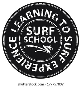Black Circle Grunge Style Surf School, Learning To Surf Experience Icon, Label, Stamp or Sticker Isolated on White Background