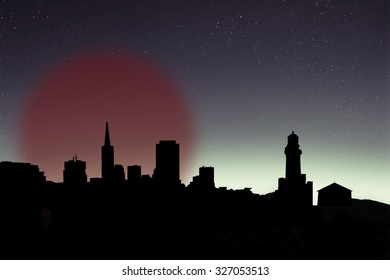 black city silhouettes with glowing sun or a moon on the background