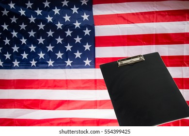 black clamping board American flag background