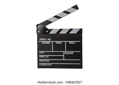Black clapperboard, isolated on white.