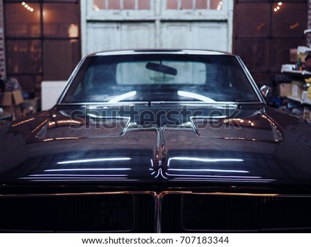 Black Classic American Muscle Car Garage Cars Stock Photo Edit Now