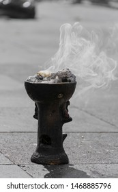black clay brazier to burn incense or copal, aromatic smoke of tradition during Aztec or indigenous dance rituals