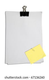 Black clip and yellow memo on white blank note paper isolate white background