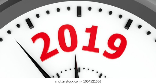 Black clock with 2019 represents coming new year 2019, three-dimensional rendering, 3D illustration
