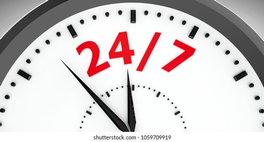 Black clock with 24/7 represents hours service, three-dimensional rendering, 3D illustration