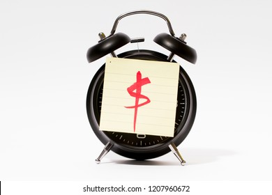 Black clock with label paper, time accumulation and wealth accumulation, dollar sign