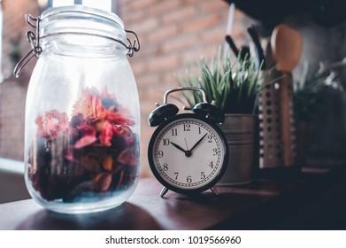 Black Clock Style Vintage Time Clock