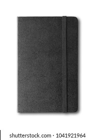 black closed notebook mockup isolated on white