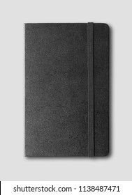 black closed notebook mockup isolated on grey