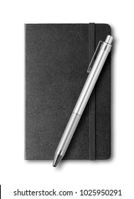 black closed notebook and pen mockup isolated on white