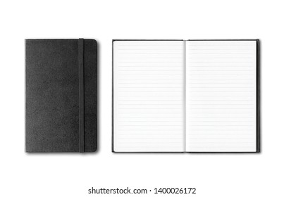 Black closed and open notebooks mockup isolated on white