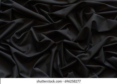 Black cloth background and texture, Grooved of black fabric abstract