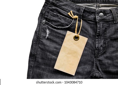Black Cloth jean label tag with blank paper mockup. price tag of denim. Fashion Illustration Jeans Product Sale.