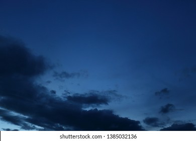 black cloud on blue night sky background
