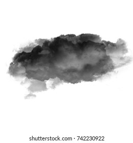 Black cloud of smoke isolated over white background 3D illustration, dirt or dust shape, natural smoke from fire