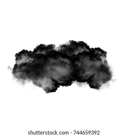 Black cloud or smoke isolated over white background, cloud shape illustration
