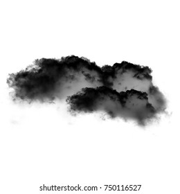 Black cloud of smoke isolated over white background, 3D cloud shape illustration, natural smoke cloud rendering