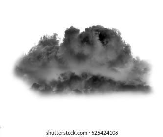 Black cloud or smoke on white background