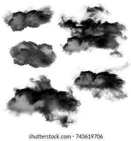 Black clouds of smoke isolated over white background 3D illustration, dirt or dust shapes collection, natural smoke from fire rendering