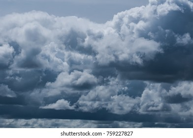black cloudy on dark sky for weather background.