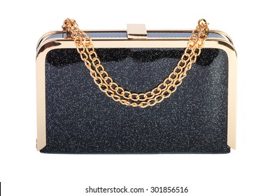 Black clutch bag isolated on white background