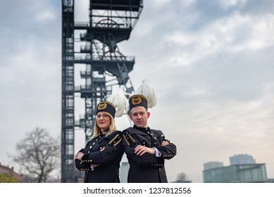Black coal miners family in gala parade uniforms, Silesia, Poland