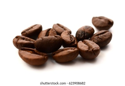 black coffee beans isolated on white background