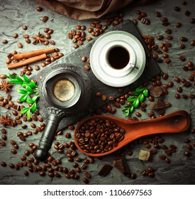 Black coffee beans on an old background