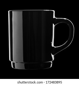 Black coffee cup isolated on black background