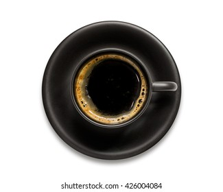 Black coffee cup isolated on white background.