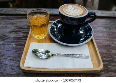 Black coffee cup and mug tea.