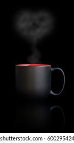 black coffee cup on a black background.