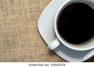 Black coffee in a cup top view