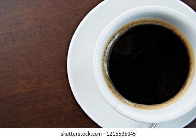 black coffee in cup top view