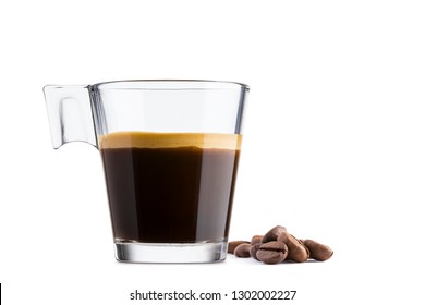 Black coffee in glass cup with coffee beans on white background