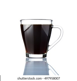 Black Coffee in Glass Cup Isolated on White Background