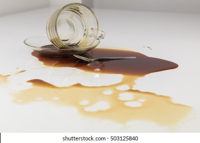 Black coffee in glass spilled on a white table