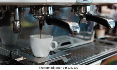 black coffee morning on coffee maker