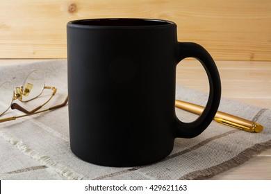 Black coffee mug mockup. Black mug mockup. Empty Mug Mockup