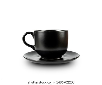 Black coffee mugs and black coffee cups isolated on white background with clipping path.