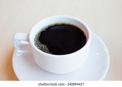 Black coffee on the table.